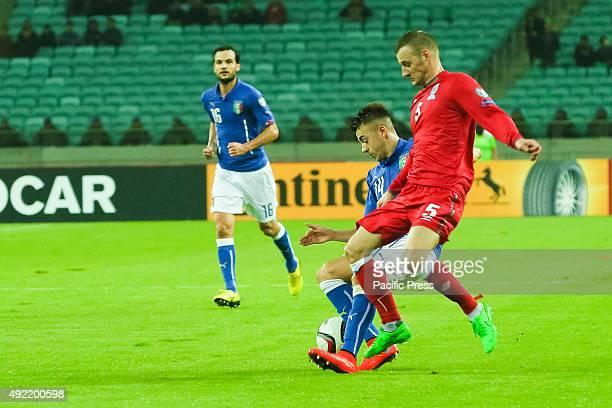 Italia's player Maksim Medvedev of Azerbaijan during the UEFA Euro 2016 qualifying football match between Azerbaijan and Italy at Olympic Stadium