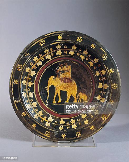 Italic civilizations Plate decorated with war elephant figures From Capena Rome province Italy
