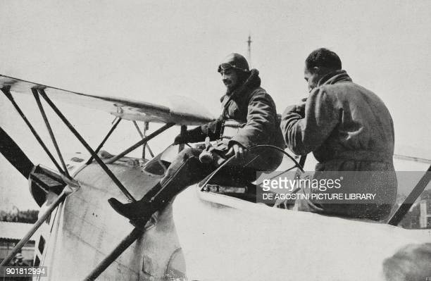 Italo Balbo disembarking from his plane at Tempelhof airport in Berlin Germany from L'Illustrazione Italiana Year LIV No 29 July 17 1927