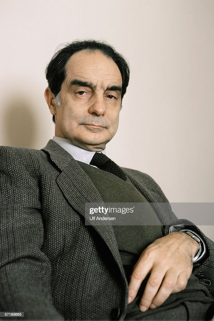 Italo Calvino poses at home in Paris,France during January of 1984.
