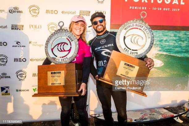 Italo Ferreira of Brazil and Caroline Marks of the United States wins the 2019 MEO Rip Curl Pro Portugal after winning the final at Supertubos on...