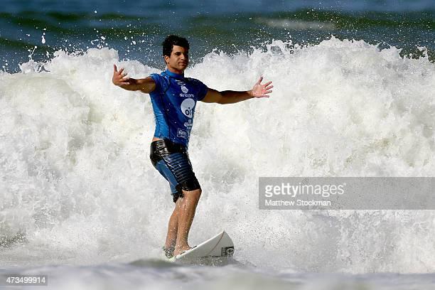 Italo Ferreira of Brazil celebrates a landing during Round 3 at the Oi Rio Pro on May 15, 2015 in Rio de Janeiro, Brazil.