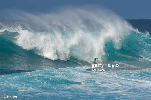 Italo Ferreira surfs during the VANS World Cup of Surfing final day on December 06 2018 in Pupukea Hawaii
