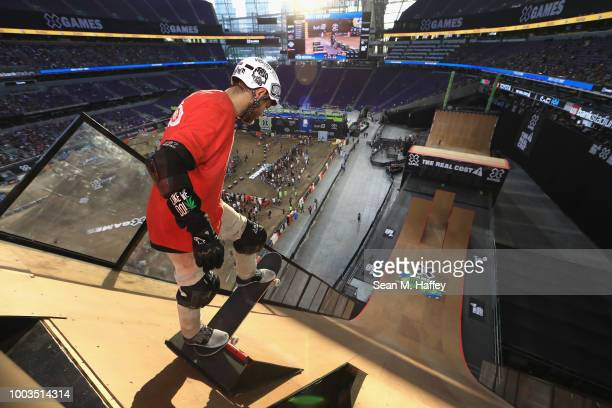 Italo Penarrubia of Brazil drops in during practice for the Skateboard Big Air Final during the ESPN X Games at US Bank Stadium on July 21 2018 in...