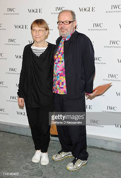 Italo Rota and his wife attend Vogue and IWC present 'Peter Lindbergh's Portofino' at 10 Corso Como on May 12 2011 in Milan Italy