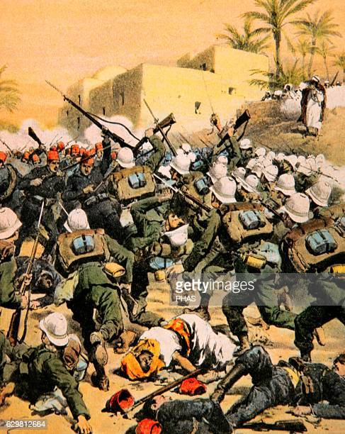 ItaloTurkish War Conflict between the Ottoman Empire and Kingdom of Italy 19111912 Conquest of Benghazi city 1911 Drawing by Achille Beltrame La...