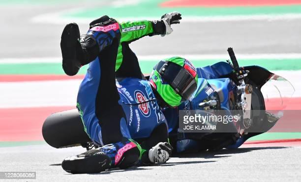 Italtrans Racing Team Italian rider Enea Bastianini crashes during the Moto2 Austrian Grand Prix at Red Bull Ring circuit in Spielberg, Austria on...