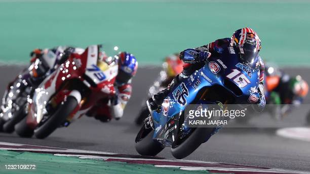 Italtrans Racing Team's American rider Joe Roberts drives during the Moto2 Grand Prix of Doha at the Losail International Circuit, in the city of...