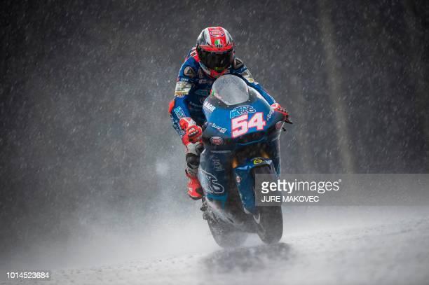 TOPSHOT Italtrans Racings Team Italian rider Mattia Pasini competes during the second Moto2 practice session of the Austrian MotoGP Grand Prix at the...