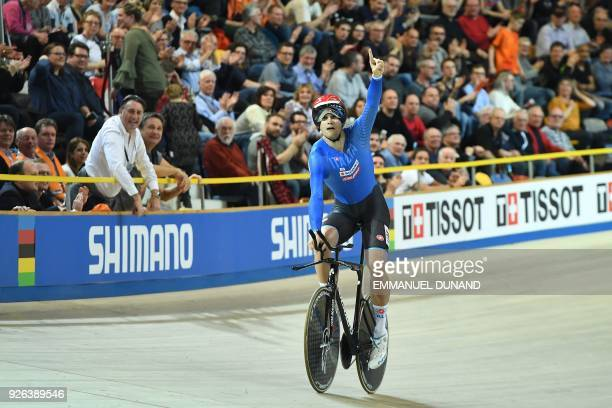 Italt's Filippo Ganna celebrates after the men's individual pursuit race final during the UCI Track Cycling World Championships in Apeldoorn on March...