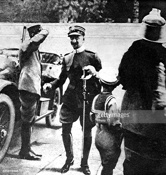 Italy 1915 World War I Cavalry Lieutenant Gabriele d'Annunzio leaving for the front