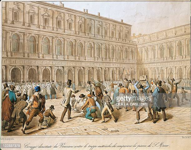 Italy 19th century First War of Independence Clash between revolutionaries and Austrians in San Marco Piazza Venice 18 March 1848 Engraving