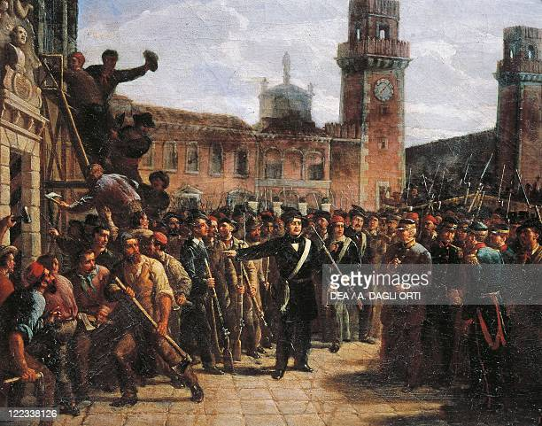 Italy 19th century First War of Independence Daniele Manin demands Austrian surrender of The Venetian Arsenal 1848 Painted by Vincenzo Giacomelli