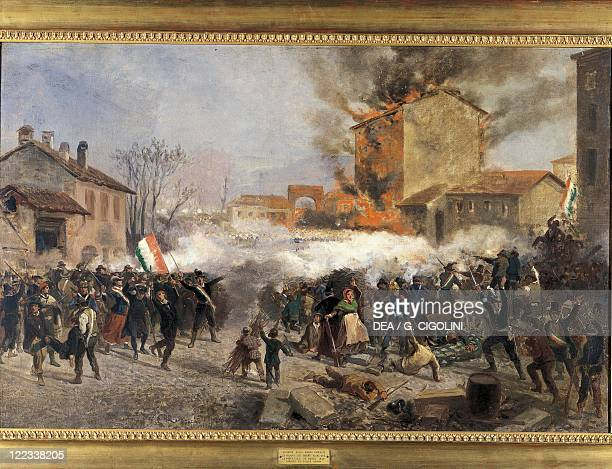 Italy 19th century First War of Independence Five days in Milan Attack on Porta Tosa 22 March 1848 Painted by Giulio Gorra