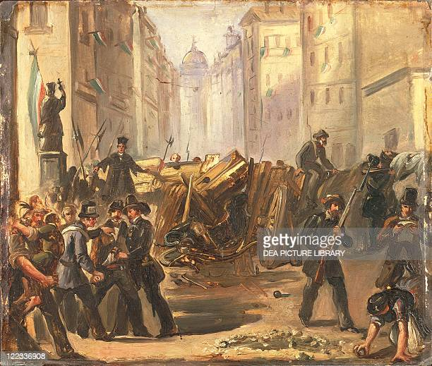 Italy 19th century First War of Independence 'Five Days of Milan' Barricades at Porta Romana