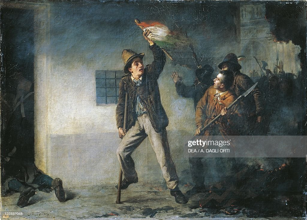 First War of Independence, Pasquale Sottocorno during the assault on the Palazzo del Genio during the Five Days of Milan, 21 March, 1848, painted by Pietro Bouvier, 1839 - 1927, il on canvas, 1866 : News Photo