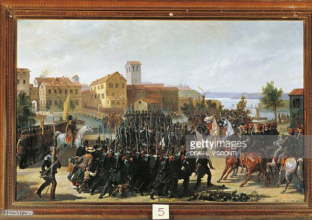 Italy 19th century First War of Independence The taking of Peschiera May 30 1848 Painted by Luigi Morgari Oil on canvas 137X87