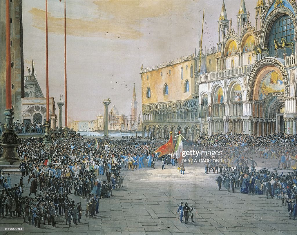 The Tricolour flying over San Marco Piazza in Venice, 1848, by Luigi Quarena, 1820-1887 : News Photo