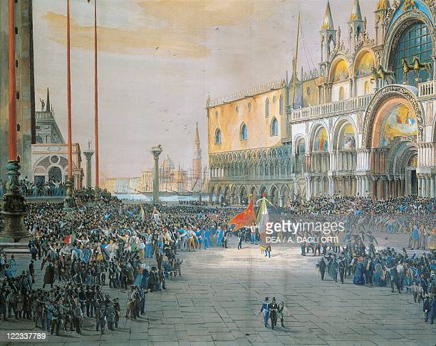 Italy 19th century First War of Independence The Tricolour flying over San Marco Piazza in Venice 1848 Painted by Luigi Quarena