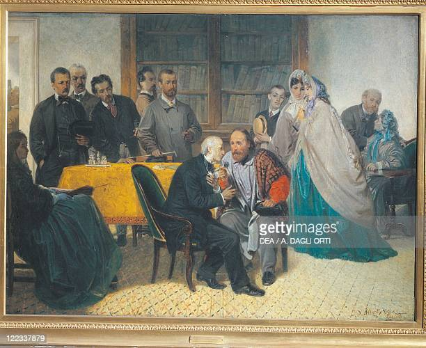 Italy 19th century Giuseppe Garabaldi visiting Alessandro Manzoni on 15 March 1862 Painted by Sebastian De Albertis 1863 Oil on canvas