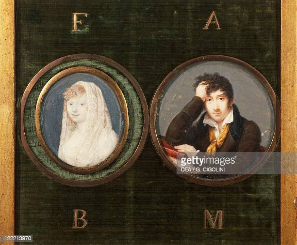 Italy 19th century Medallions with portraits of Alessandro Manzoni Italian writer and poet and his wife Henriette Blondel