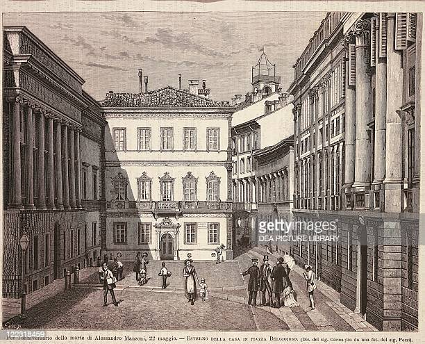 Italy, 19th century. Milan. House of Alessandro Manzoni from the outside, Piazza Belgioioso. Print from the Illustrazione Italiana magazine, May 18,...