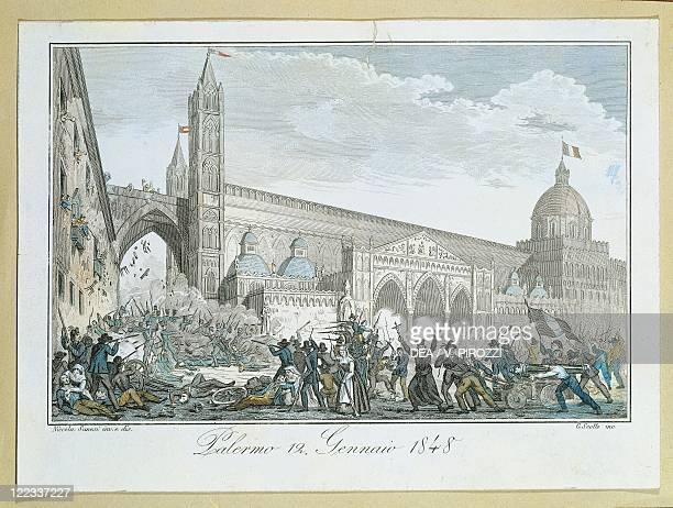 Italy 19th century Uprising in Palermo 12 January 1848