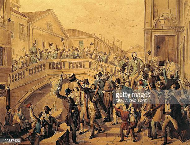 Italy 19th century Venice Daniele Manin and Niccolo' Tommaseo freed from prison 17 March 1848