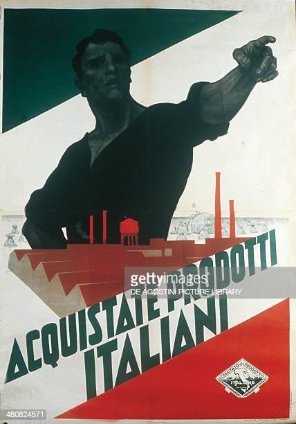 Italy 20th century Acquistate Prodotti Italiani Fascist propaganda poster during autarky Treviso Museo Civico