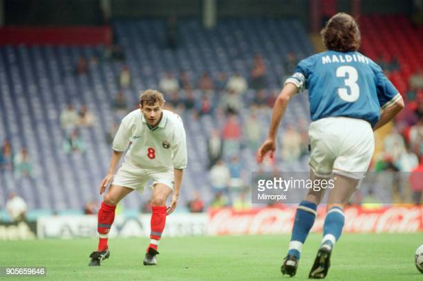 Italy 21 Russia Euro 1996 Group C match at Anfield Liverpool Tuesday 11th June 1996 Paolo Maldini Andrei Kanchelskis