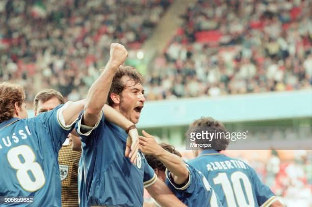 Italy 21 Russia Euro 1996 Group C match at Anfield Liverpool Tuesday 11th June 1996 Roberto Mussi Pierluigi Casiraghi Demetrio Albertini