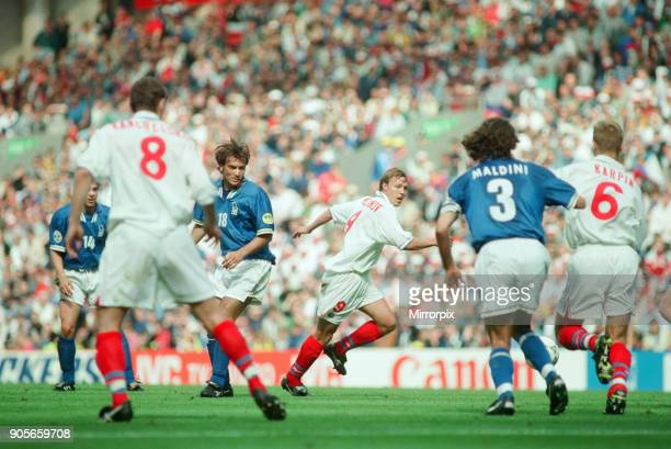 Italy 21 Russia Euro 1996 Group C match at Anfield Liverpool Tuesday 11th June 1996 Pierluigi Casiraghi Paolo Maldini