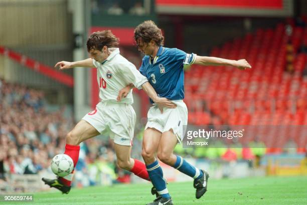 Italy 21 Russia Euro 1996 Group C match at Anfield Liverpool Tuesday 11th June 1996 Aleksandr Mostovoi Paolo Maldini