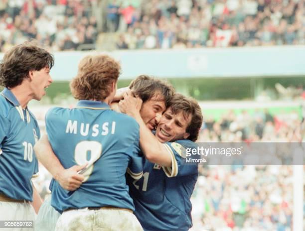 Italy 21 Russia Euro 1996 Group C match at Anfield Liverpool Tuesday 11th June 1996 Demetrio Albertini Roberto Mussi Pierluigi Casiraghi Gianfranco...