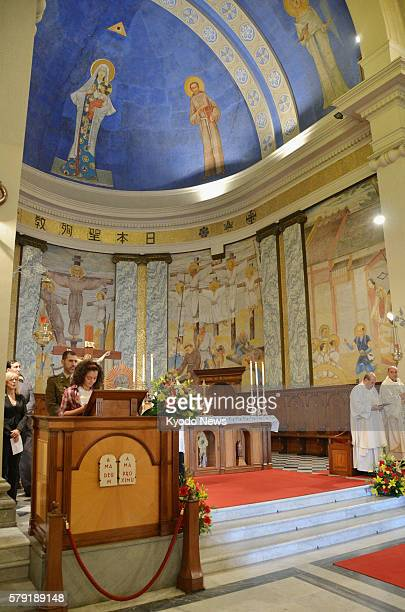 Italy - A mass is held at a church in Civitavecchia, central Italy, on Oct. 11, 2011 to commemorate the victims of the March quake and tsunami...