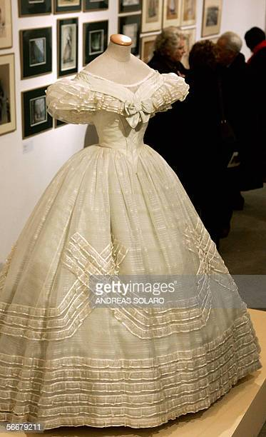 A Piero Tosi's costume used in 'Il Gattopardo' by Italian director Luchino Visconti is pictured during an exhibition of theatre and cinema costumes...