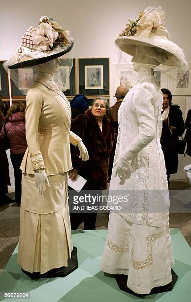 A visitor looks at the Piero Tosi's costumes used in 'Morte a Venezia' by Italian director Luchino Visconti during an exhibition of theatre and...