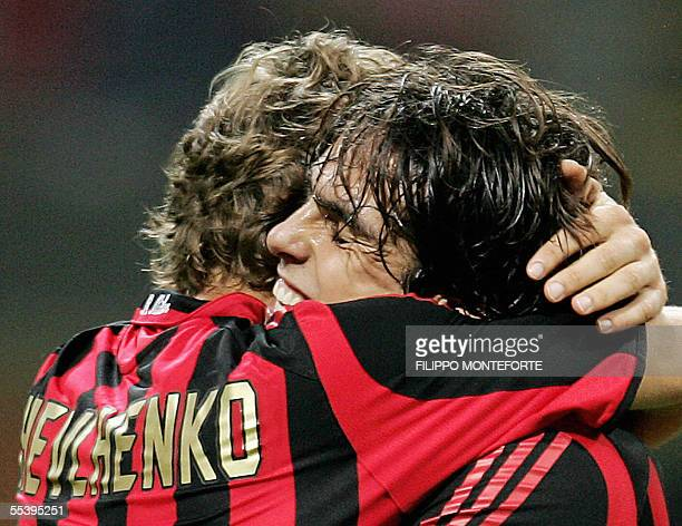 AC Milan's Andriy Shevchenko of ukraine is hugged by brasilian Kaka after scoring for his side the third goal against Fenerbahce SK during Champion's...