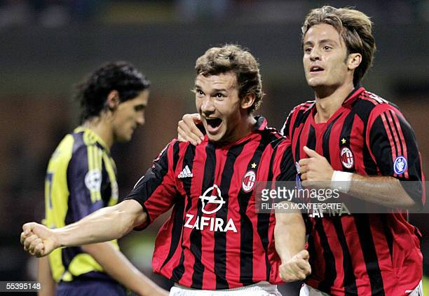 Milan's Andriy Shevchenko of Ukraine jubilates with his teammate Alberto Gilardino after scoring his side third goal against Fenerbahce SK during...