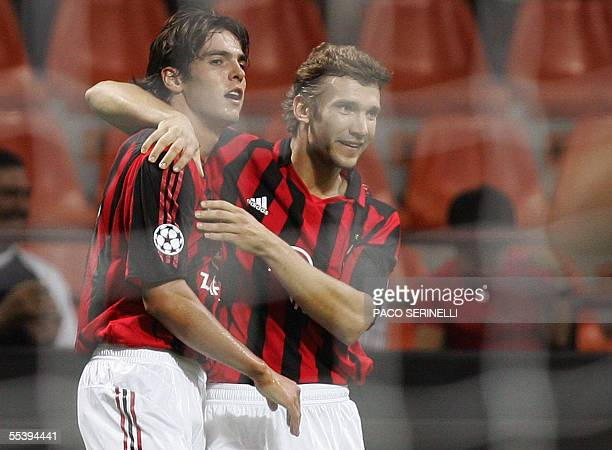 AC Milan's midfielder Kaka of Brazil is congratulated by his teammate Andriy Shevchenko of Ukraine after scoring against Fenerbahce during Champions...