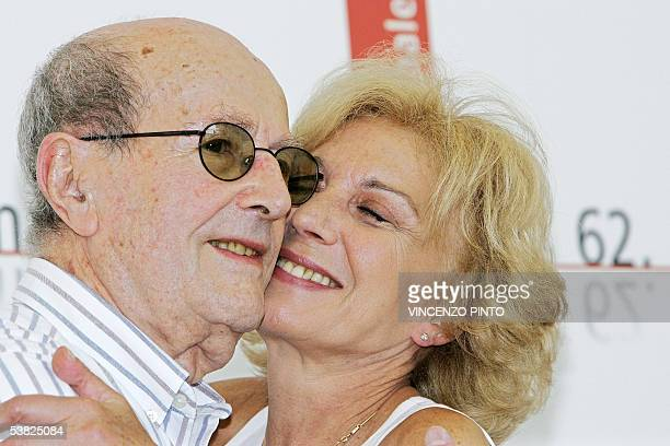 Actress Marisa Parades of Spain kisses her film director Manoel de Oliveira of Portugal during a photocall of the 62nd edition of Venice...