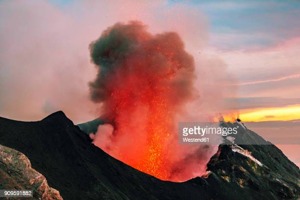 Italy, Aeolian Islands, Stromboli, volcanic eruption, lava bombs