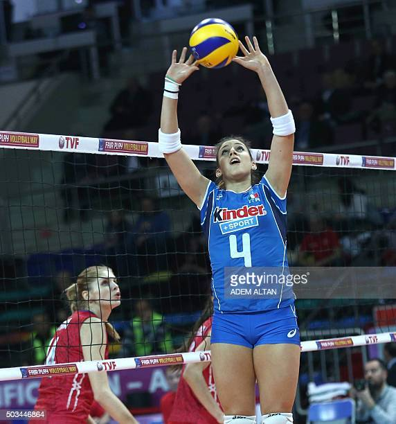 Italy Alessia Orro sets the ball during the Women's European Olympic Qualification volleyball match against Russia on January 5 2016 in Ankara / AFP...