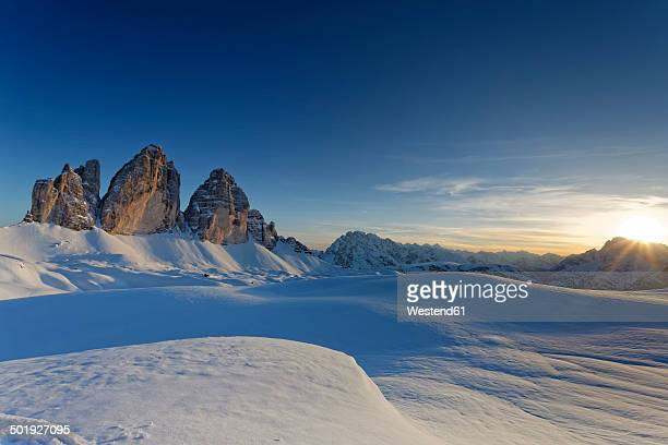 Italy, Alto Adige, Sexten Dolomites, Hochpuster Valley, Tre Cime di Lavaredo in the evening