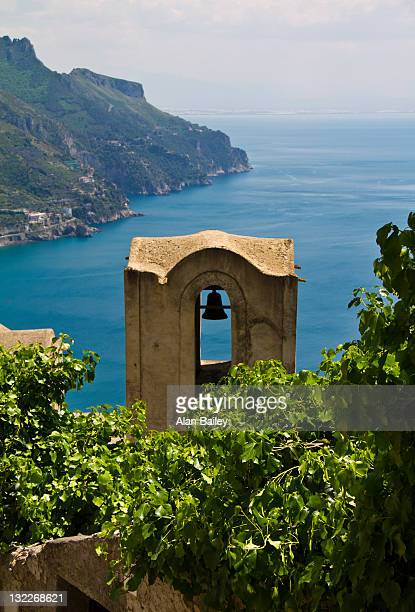 Italy, Amalfi Coast, Ravello, Bell tower with sea in background