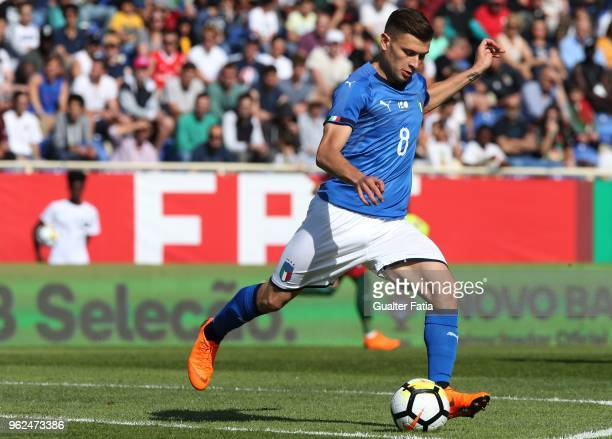 Italy and Cagliari midfielder Nicolo Barella in action during the U21 International Friendly match between Portugal and Italy at Estadio Antonio...