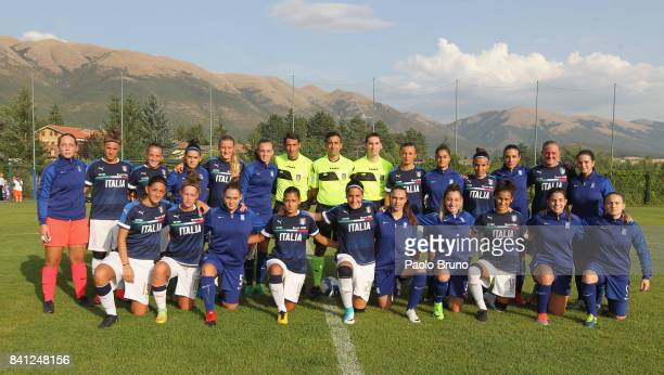 Italy and Greece Women U17 team pose during the friendly match between Italy Women U17 and Greece Women U17 on August 31 2017 in Norcia Italy