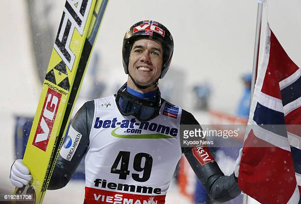 FIEMME Italy Anders Bardal of Norway celebrates after winning the men's normal hill individual ski jumping competition in Val di Fiemme Italy on Feb...