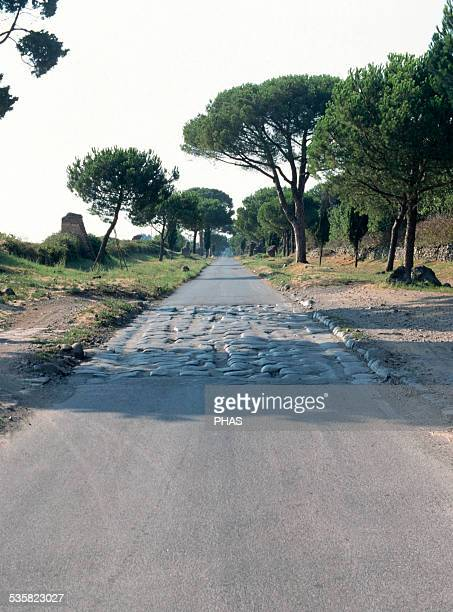 Italy Appian Way Roman road who connected Rome to Brindisi 4th century BC Section near Rome