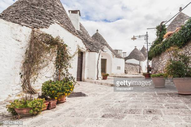 italy, apulia, alberobello, view to alley with typically trulli - trulli stock photos and pictures